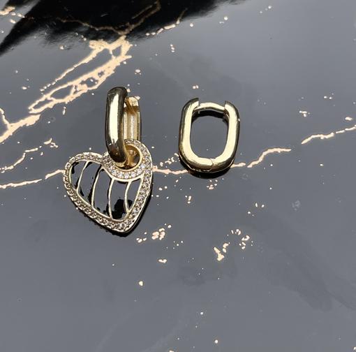 Pirinç üzer altın kaplama mineli kalp küpe-7028 resmi