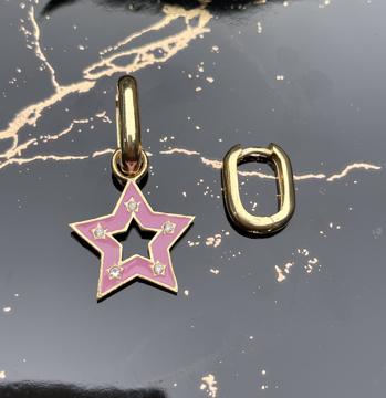 Pirinç üzer altın kaplama mineli yıldız küpe-7020 resmi