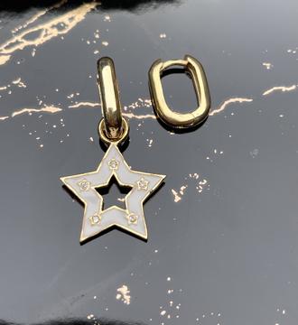 Pirinç üzer altın kaplama mineli yıldız küpe-7021 resmi